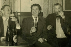 Arthur French, George Tallet and Chris Ross in the temporary club hut.