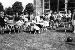 Summer activity tables at Queen Eleanor Infants circa 1958