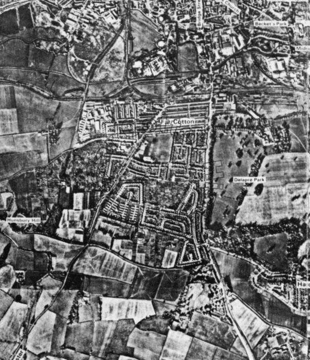 Aerial view of Far Cotton in 1970