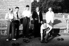 Reginald Harry Bland bowling against Kidderminster at Abington Park in 1955